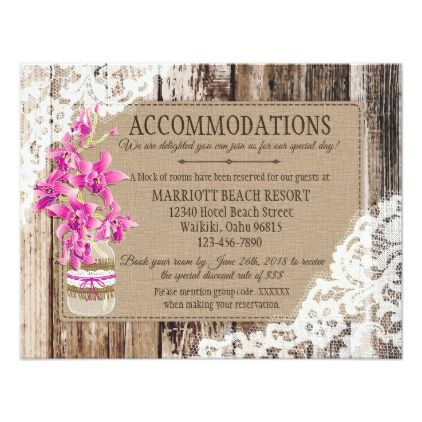 Rustic Orchid Wood Lace Accommodations Card - lace wedding ideas marriage diy cyo customize special