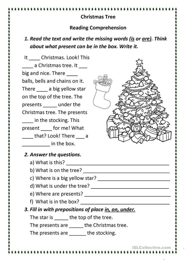 Christmas Reading Comprehension Worksheets Christmas Tree