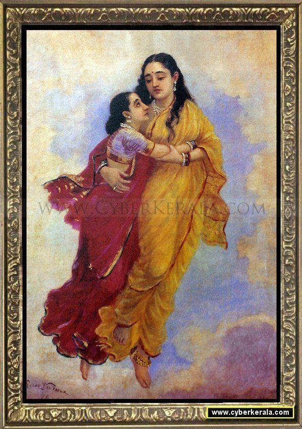 Menaka and Sakunthala- [daughter & mother]-by Raja Ravi Verma