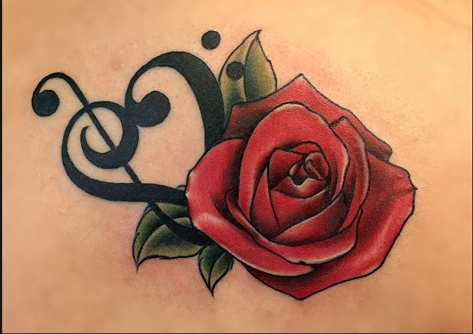 Rose and music notes by artsit Em Becker #tattoo #tattooart #ink #inked #inkart…