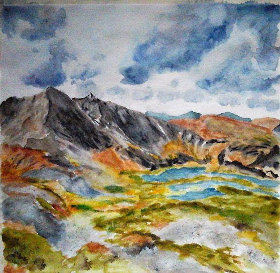 Original Watercolor Painting Landscape Mountains Dramatic Sky
