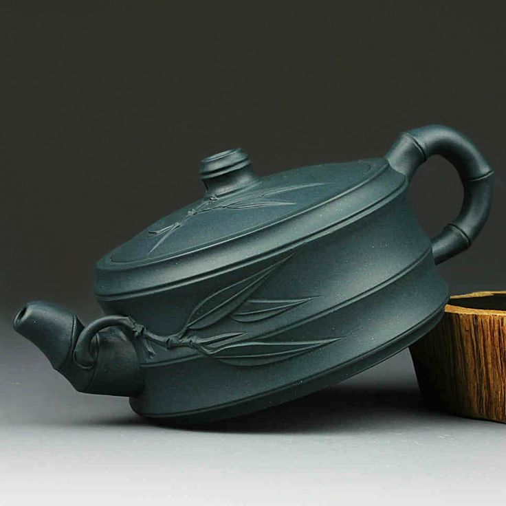 Green clay bamboo pottery Yixing teapot  ArtPotteryMall | 8 Days of Christmas | Pin to win at http://wp.me/p49CzR-4