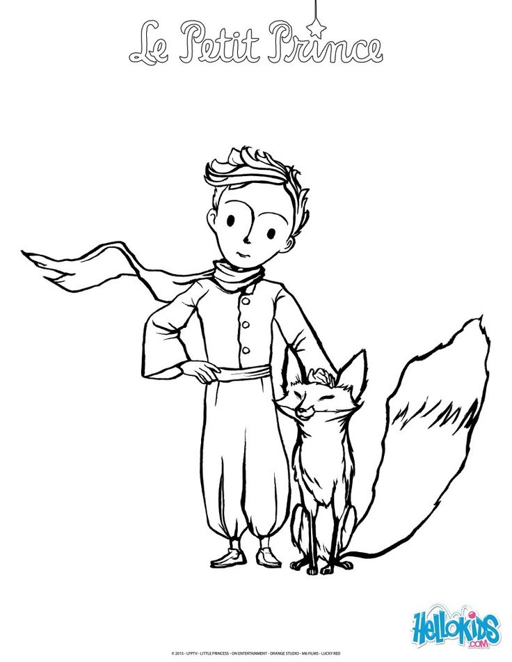 The Fox And Little Prince Coloring Page