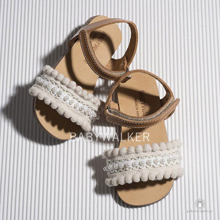 Δερμάτινα Πεδιλάκια για Κορίτσια με Δαντελένιο Διακοσμητικό και Πέρλες Babywalker BW4596