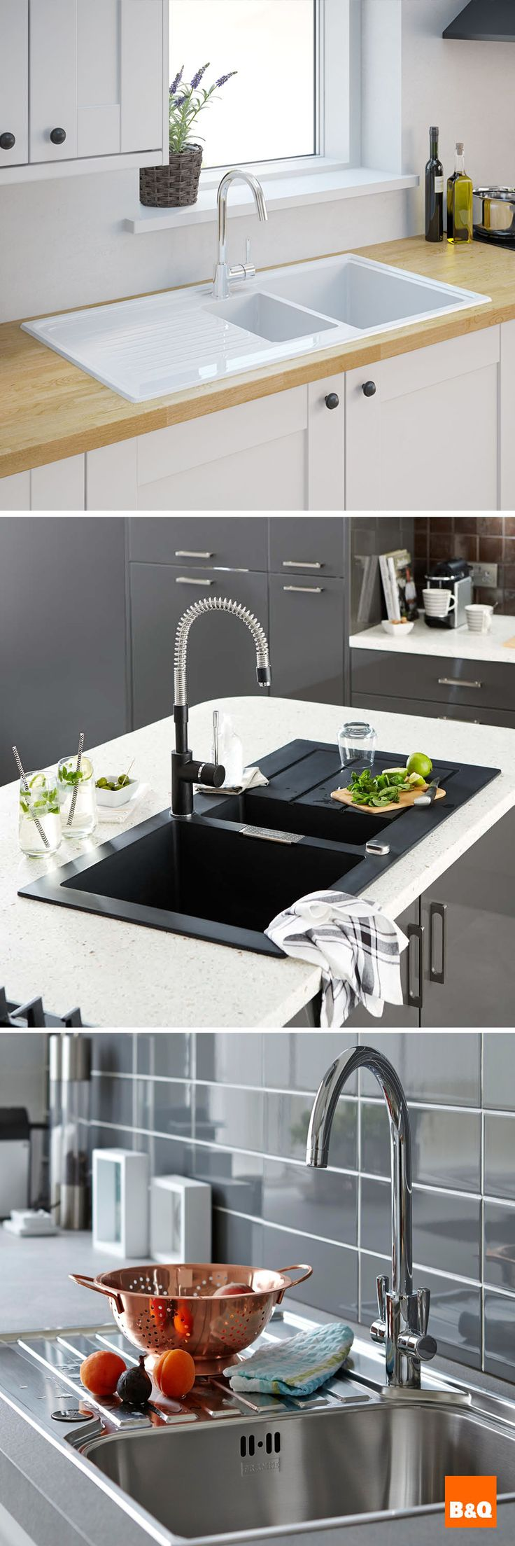 Update your kitchen by simply replacing your sink with a stylish new one! Change the taps to complete the look - what a difference it will make!