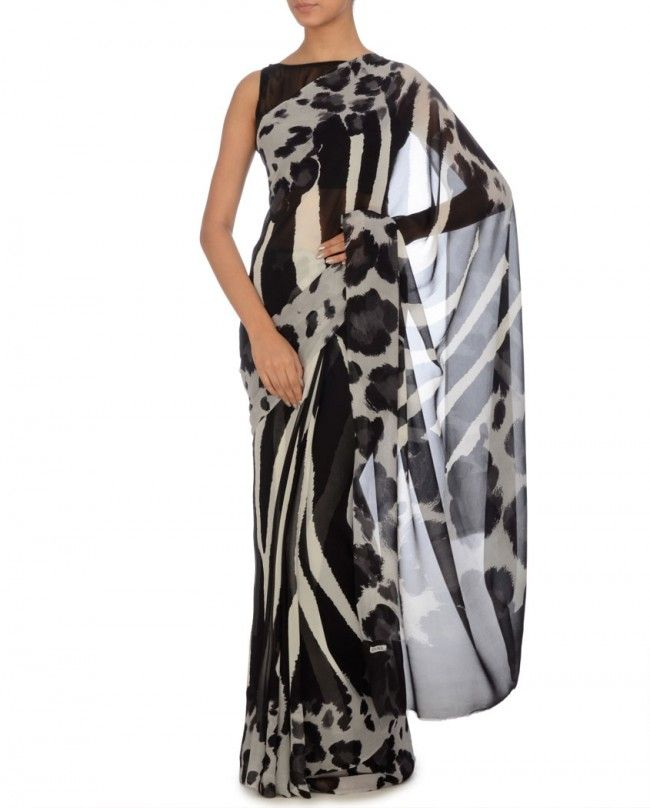 Animal Printed Black Sari - Satya Paul - End Of Season Sale - Sale