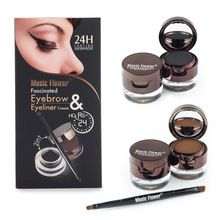 Music Flower Brand Brown + Black Gel Eyeliner Eyebrow Powder Makeup Set Kit Waterproof Long Lasting Eye Liner Eye Brow Cosmetics(China (Mainland))