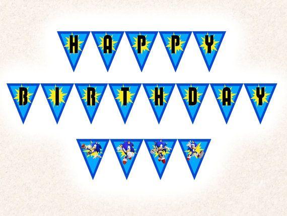 Sonic the Hedgehog Birthday Banner, Video Game Birthday Party Banner (Customizable DIY Printable)