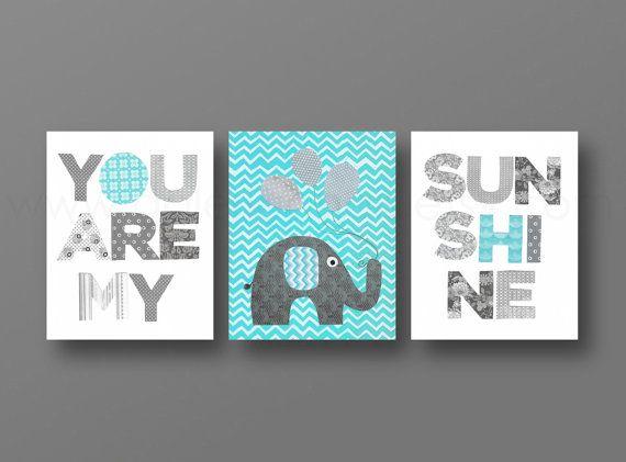 Grey Aqua chevron Nursery art, baby nursery decor, nursery wall art, Kids art, elephant, words, Set of 3, 8x10 Prints You Are My Sunshine on Etsy, $46.00