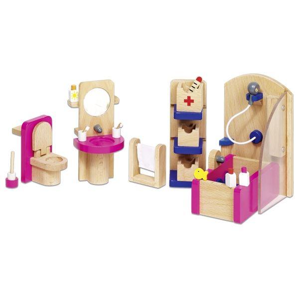 22-delige meubelset badkamer voor poppenhuis.   Sanitair/meubels: douche/badmeubel, wastafel met spiegel, kast en toilet Accessoires: badmat, handdoekje, toiletgarnituur, flesjes, badspeeltje, bekertjes met tandenborstels en een thermometer Materiaal: hout en stof Afmeting: geschikt voor een poppenhuis met popjes van circa 11 cm Merk: Goki Geschikt voor kinderen vanaf 4 jaar  - Goki Houten Poppenhuis meubel badkamer - 22 delig
