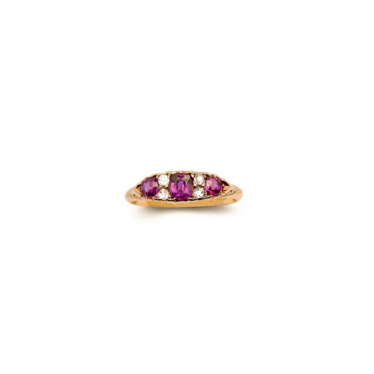 51307R 18ct Yellow Gold Victorian Ruby And Diamond Ring BM1900