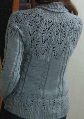 Пуловер с шикарным узором спинка
