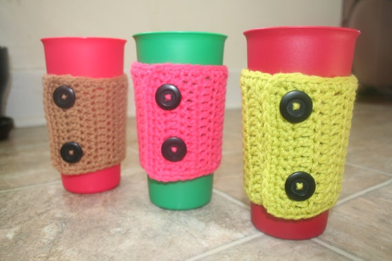 coffee cozy crocheted with buttons sleeve by decemberconnection, $8.95