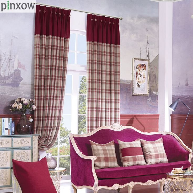 Red Plaid Curtain Fabric For Bedroom Imitation Cashmere Thicker Window  Panels Luxury Blinds Insulated Thermal Elegant Drapes New