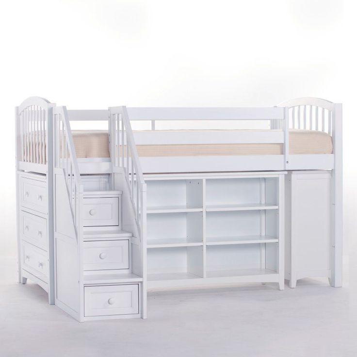 NE Kids Schoolhouse Storage Junior Loft Bed with Stairs - White - 7060NJLST