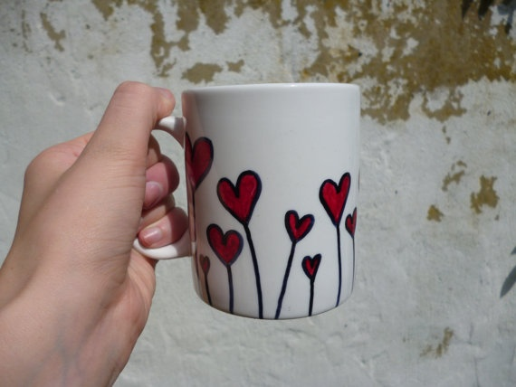 Field of hearts - Hand drawn mug - cute and quirky gift ideas