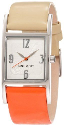 Nine West Women's NW/1297SVOC Strap Square Silver-Tone Orange and Tan Strap Watch Nine West. $49.00. Silver-tone hour and minute hands. White dial with silver-tone arabic 3, 6, 9 & 12. Stick second hand. Smooth texture strap in orange and cream with stainless steel buckle closure. Square silver-tone case with polished finish