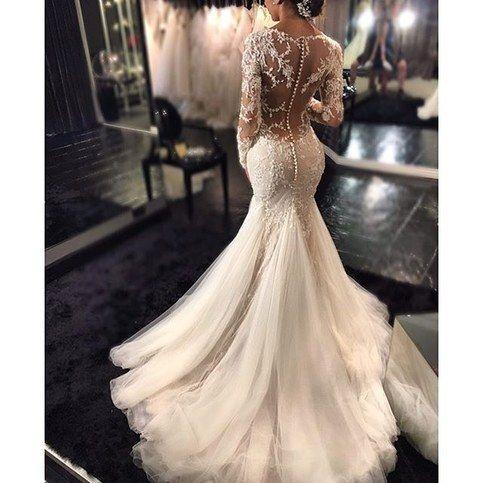 Romantic Boho Mermaid Wedding Dresses Long Sleeves Lace Beaded Sheer Back Sexy Bridal Gowns