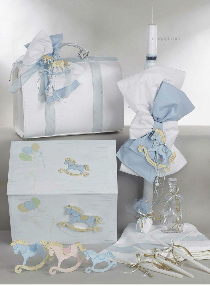 Complete set greek baptism candle * Baby boy carousel baptism theme Handmade blue white christening orthodox set Rocking horse Keepsake bag by eAGAPIcom on Etsy