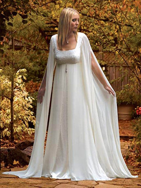 Brand New Mediaeval Long Sleeves Chiffon Bridal Wedding Dress Gown Custom Size