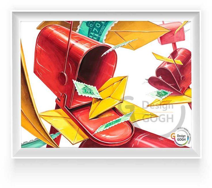 <2016 건국대 정시 커뮤니케이션디자인학과> 우체통(스틸) & 편지봉투 & 우표 (종이)