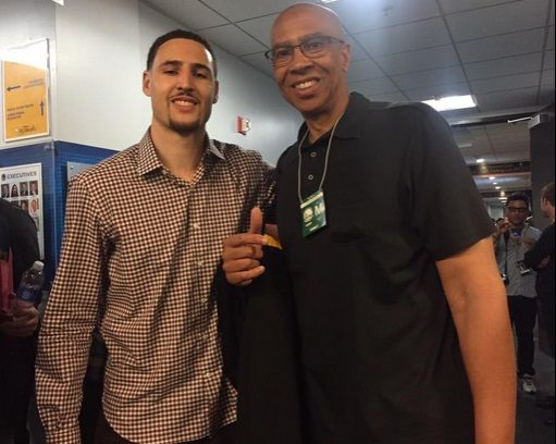 Klay Thompson and his dad Mychal Thompson.