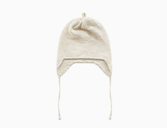 Alpaca Earflap Baby Hat  Off White by ommukids on Etsy
