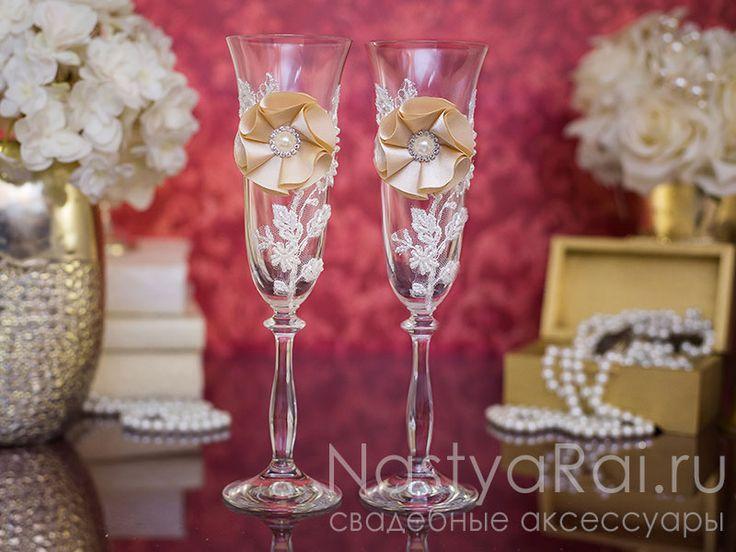 Фото. Свадебные бокалы в стиле винтаж.