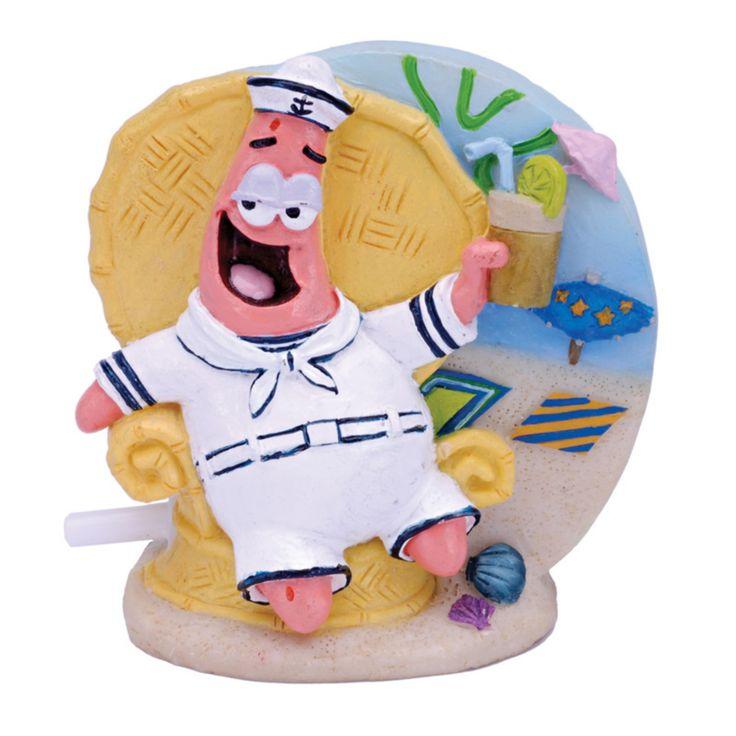Penn Plax SpongeBob Patrick in Tiki Lounge Chair Aquarium Figure - SBAR21