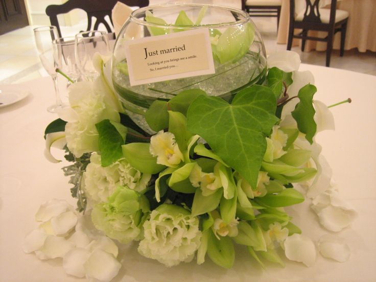 結婚披露宴、ゲストテーブルの装飾です。