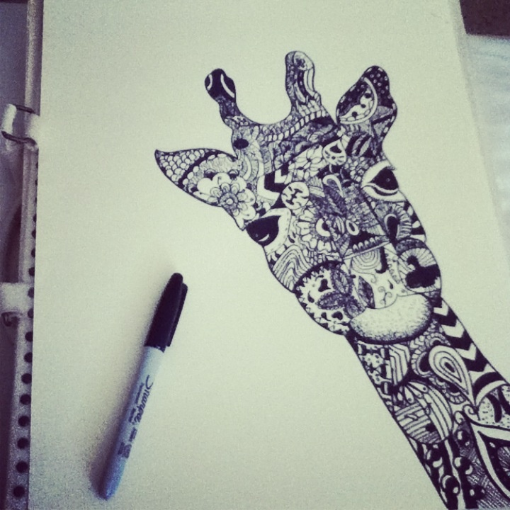 Sharpie Art - I chose this for my sister who love giraffes... have to try this and WOW her, what do you think? FYI - this is only the picture, the original pinner didn't link to the site :-(