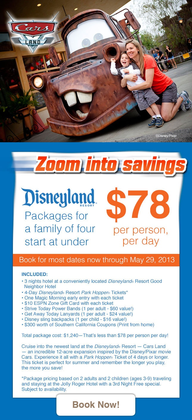 Disneyland Vacation Packages From $78 Per Person Per Day