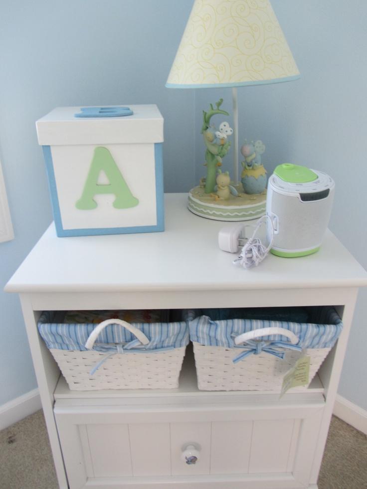 White baby night stand and Snug A Bug lamp. Handmade baby box.