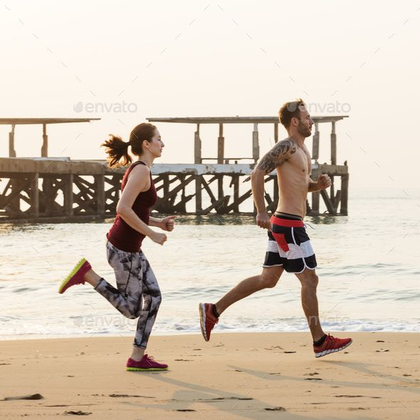 Running Exercise Training Healthy Lifestyle Beach Concept By