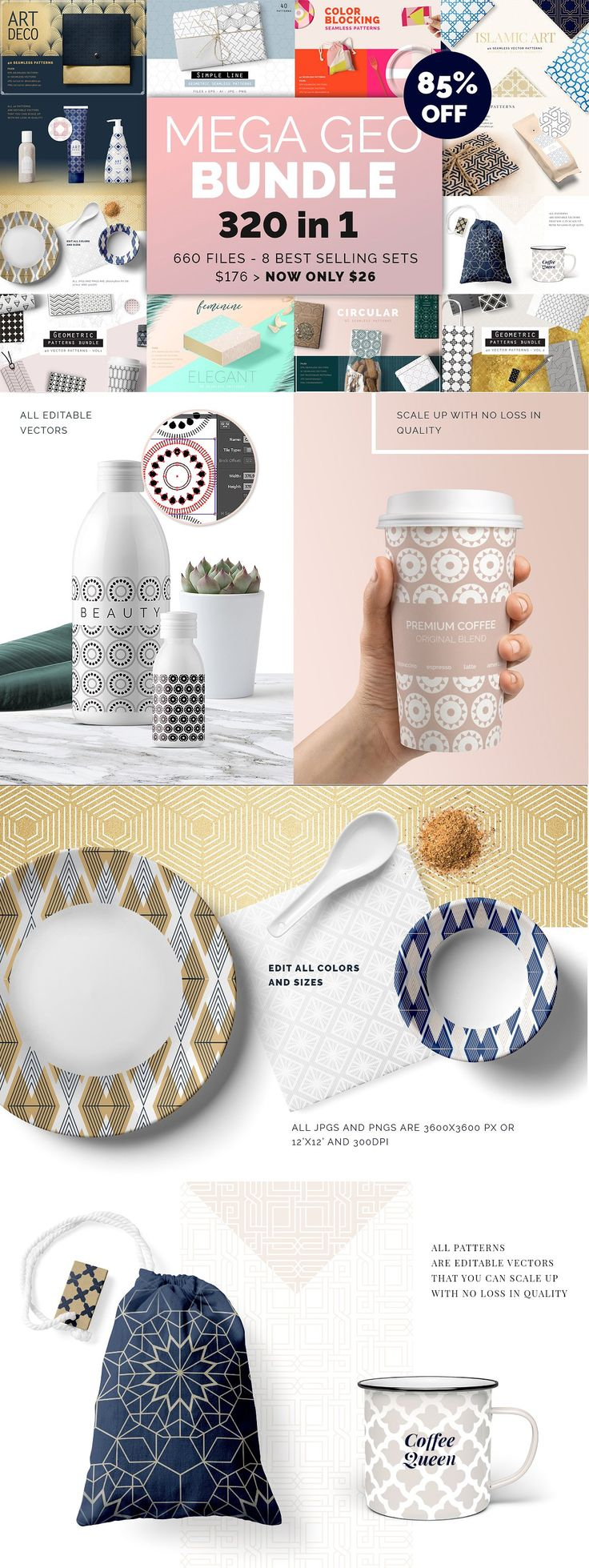 #affiliate A Mega Geometric Patterns bundle! my biggest collection bundle so far, full of Geometric pattern goodies see below the list of products included.So if you want to save $150, get this for just $26! You will be adding 8 high value pattern sets (containing 40 unique patterns each) to your collection that will make your projects easier and faster.These products can be ideal as backgrounds for branding projects, packaging, fashion apparel, posters, leaflets, wallpapers etc.