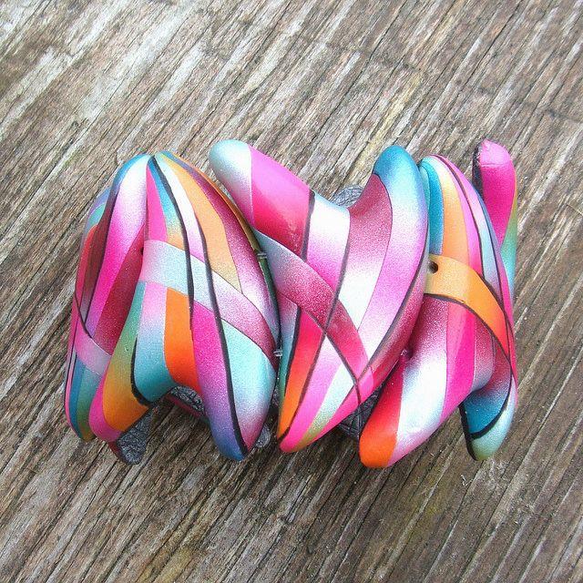 Polymer clay bracelet by Jana Honnerová.