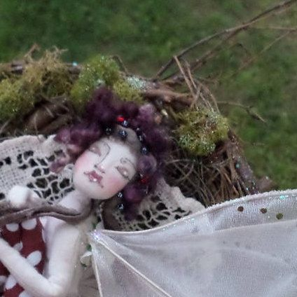 OOAK Fairy Art Doll - Lady Cymbeline Juliette Figg - Flower Fairy Cloth Art Doll - Paula McGee Paula's Doll House by paulasdollhouse on Etsy