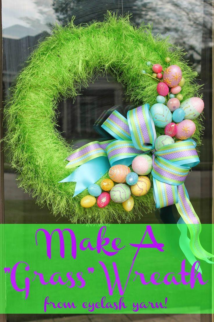 Miss Kopy Kat blog: How to make a wreath that looks like grass by using eyelash/fur yarn!