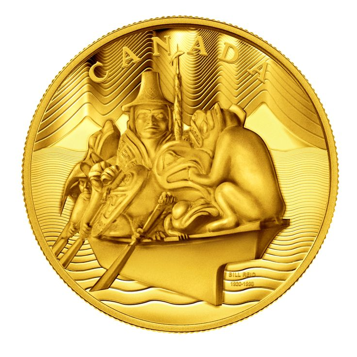 The World's First 10-kg 99.999% Pure Gold Coin, featuring The Spirit of Haida Gwaii design from the masterpiece by Bill Reid, one of Canada's most accomplished and renowned artists.