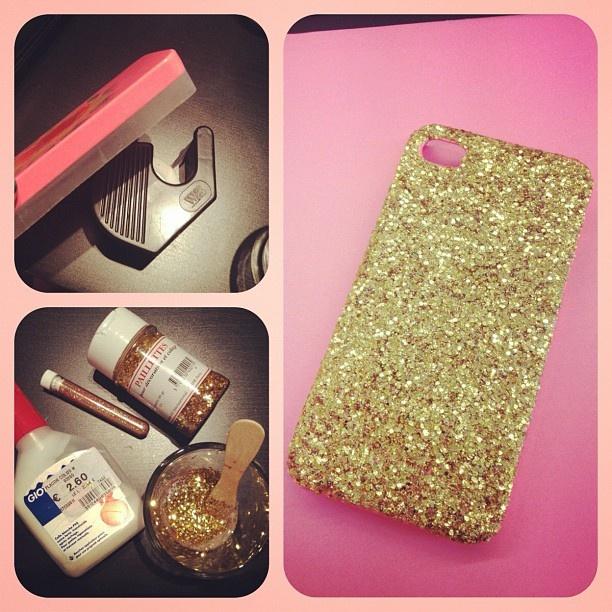 customisation DiY iphone case glitter