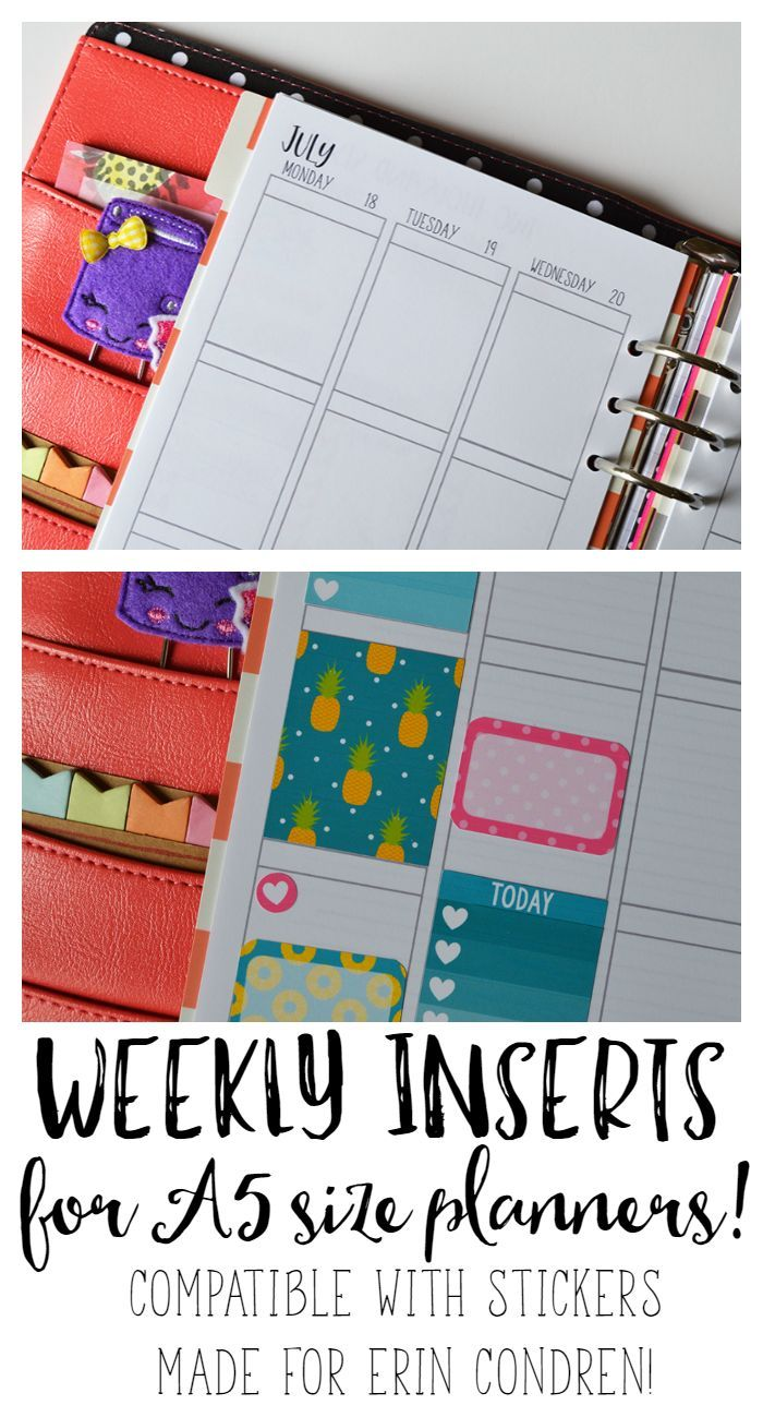 Weekly inserts for your A5 size planner- Filofax A5, kikki.K large, Carpe Diem, and more! These are compatible with stickers made to fit the Erin Condren Life Planner to make your planner sticker shopping easier!