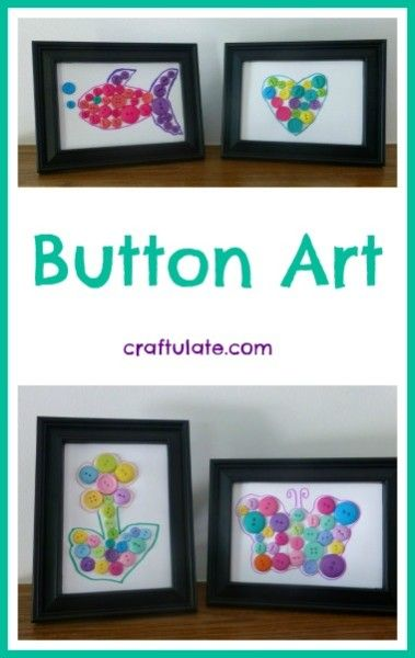 Button Art - Craftulate. This would be something neat for the kids to do; you could match the pictures and colors to your decor and frame them for the house!