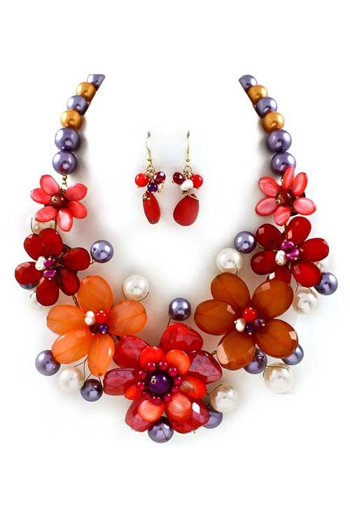 The perfect fall necklace - Rouge Mother of Pearl Shell weaved in Shades of Warm Reds, Beaded in Pearlescence, Gold and Blue Pearl with a touch of Freshwater Pearls with matching Earrings.