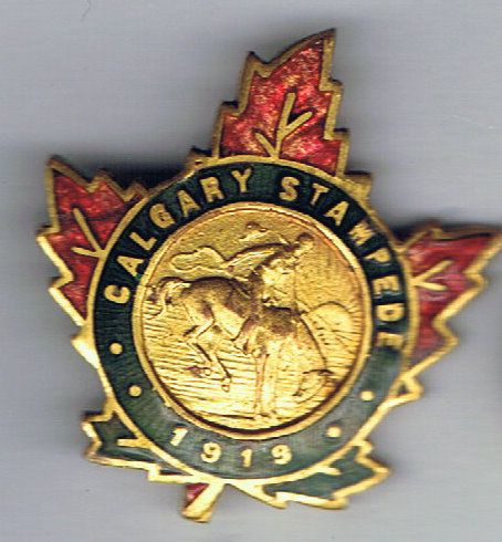 Rare , unknown 1919 Calgary Stampede pin. Has also been seen on the top of a collector spoon from the 1919 Stampede. This the second Stampede held in Calgary.