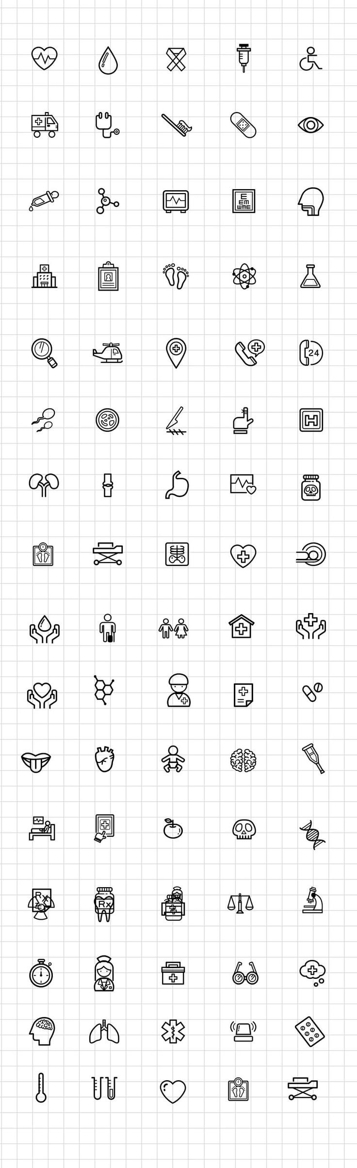 There's all kind of icon freebies online. I'm not a designer and all these freebies have benefited me greatly. I can just search a little harder to find the design I need. Here we have a delicate set of rare icons to share - 80+ Medical and Science Outline Icon Set Free PSD.