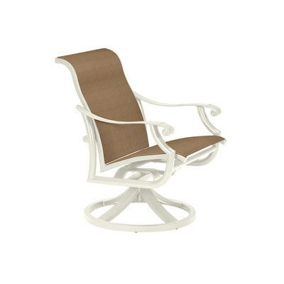 Tropitone Montreux Ii Swivel Patio Dining Chair Finish: Parchment, Fabric: Cascade