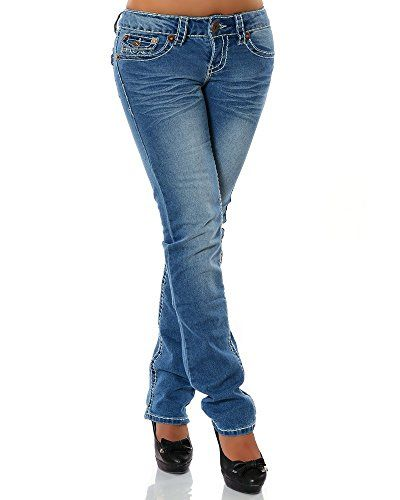 Damen Jeans Straight Leg (Gerades Bein Dicke Nähte Naht 17 Farben) No 12923, Größe:40;Farbe:Blau