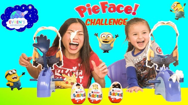 MINIONS PIE FACE CHALLENGE Despicable Me Edition Family Fun Game Kinder Egg Surprise Minions Toys Review. It's a whipped Cream in the face family fun games for kids! In In this new Pie Face version from Hasbro, players take turns spinning the spinner, sliding their heads through the Minion mask, and turning the handles forward the required number of clicks to see if they get hit in the face with whipped cream (whipped cream not included).The winner gets Minions Despicable Me 3 kinder…