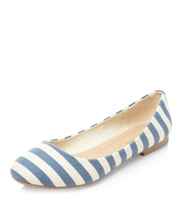 Blue Stripe Ballet Pumps    New Look