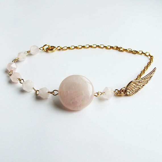 Natural rose quartz bracelet, 24 K gold plated chain and wing charm, candy color gemstone delicate bracelet, wholesale available #christmas #xmas #halloween #highquality #affordable #freeshipping #bead #beads #gem #gems #gemstone #gemstones #jewelry #jewellery #jewelrymaking #jewelrysupplies #jewelrysupply #etsy #farragem #design #designer #handcrafted #handmade #ring #necklace #earrings #bracelet #pendant
